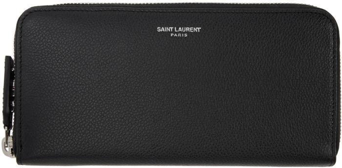 Saint Laurent Black Large Rive Gauche Zip Around Wallet