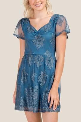 francesca's Kiana Lace A-Line Dress - Dark Teal