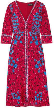 Saloni Eve Floral-print Silk Crepe De Chine Midi Dress