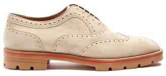Christian Louboutin Charlie Suede Oxford Shoes - Mens - Beige