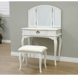 Generic Home Craft Queen Anne Style 3-Piece Vanity Set, White