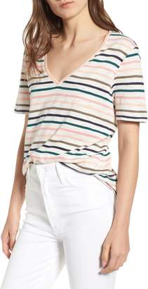 Splendid Sunset Stripe V-Neck Tee