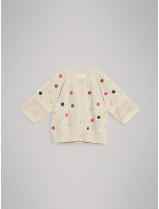 Burberry Embroidered Cotton Cashmere Cardigan