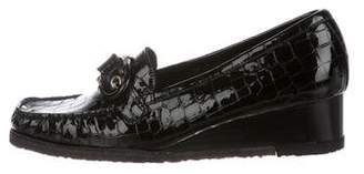 Stuart Weitzman Embossed Buckle-Accented Loafers