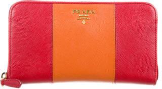 pradaPrada Logo Saffiano Wallet