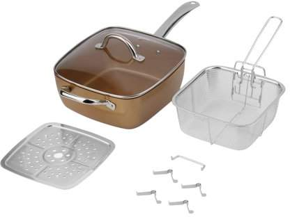 OUTAD 4 PCS Non-Stick Copper Square Pan Durable Frying Pan With Glass Lid Fry Basket Steam Rack Home Cookware Set