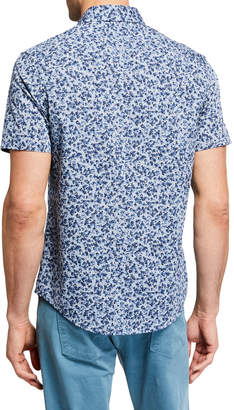 Original Penguin Men's Short-Sleeve Chambray Floral Shirt
