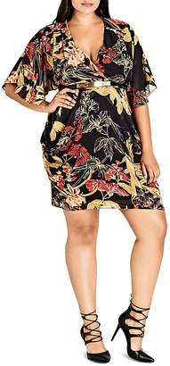 City Chic Printed Faux-Wrap Dress