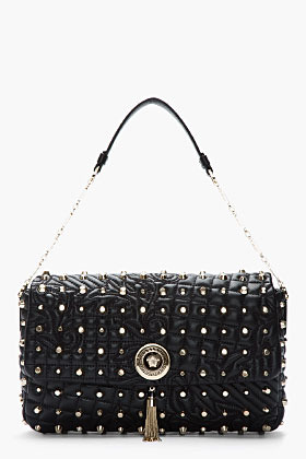 Versace Black Studded Quilted Leather Chain-Strap Shoulder bag