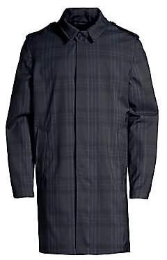 Corneliani Men's Point Collar Plaid Raincoat
