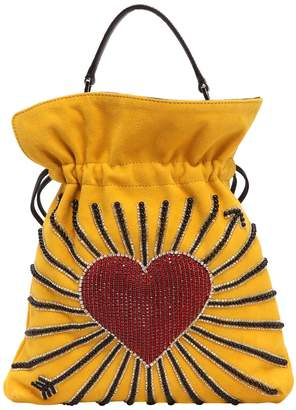 Les Petits Joueurs Big Trilly Heart Embellished Leather Bag