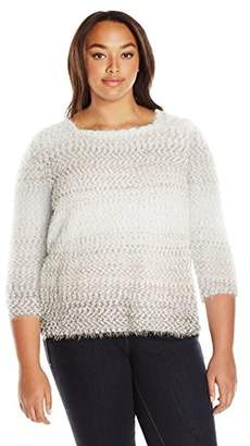 Alfred Dunner Women's Ombre Eyelash Sweater