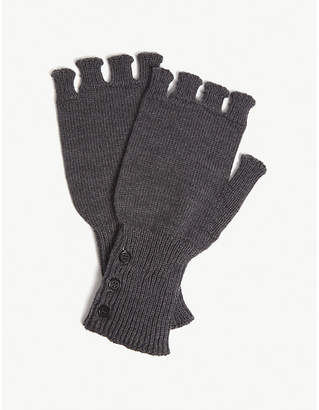 Thom Browne Fingerless merino wool gloves