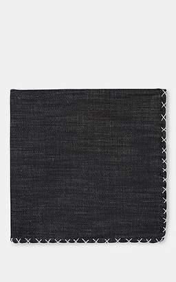 Eleventy Men's Cross-Stitched Denim Pocket Square - White