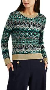 Alberta Ferretti WOMEN'S METALLIC VIRGIN WOOL JACQUARD-KNIT SWEATER - GOLD SIZE 46 IT