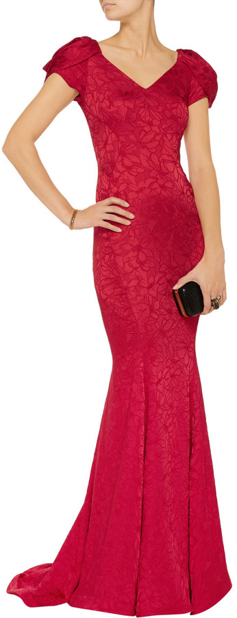 Zac Posen Floral-embroidered sateen gown