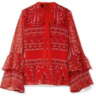 Giambattista Valli Pussy-bow Printed Silk-georgette Blouse - Red