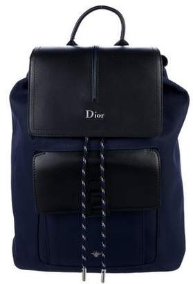 Christian Dior Leather-Trimmed Twill Backpack