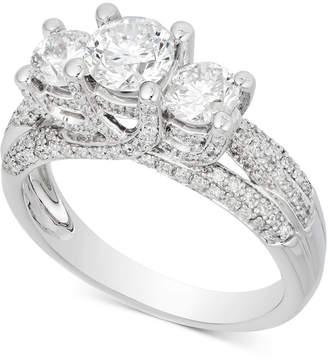 Macy's Diamond Three-Stone Pavé Engagement Ring (1-3/4 ct. t.w.) in 14k White Gold