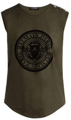 Balmain Coin Print Cotton Jersey Tank Top - Womens - Khaki