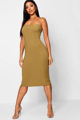 boohoo Bandeau Ribbed Midi Dress