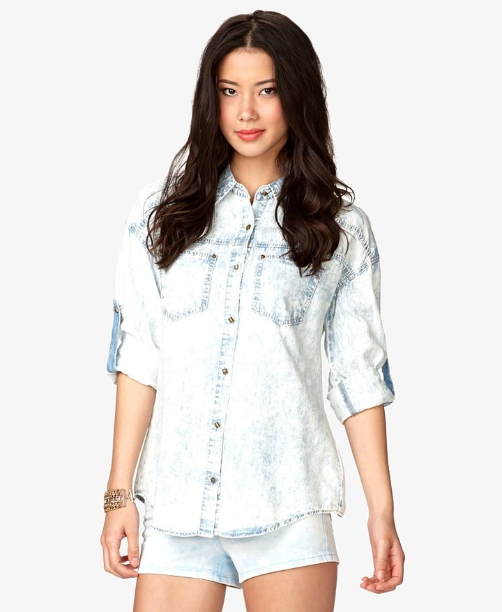 Forever 21 Life in ProgressTM Acid Washed Denim Shirt