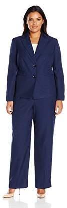 Le Suit Women's Plus Size Two Button Pant Suit