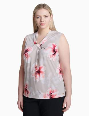 Calvin Klein plus size floral knot neck sleeveless top