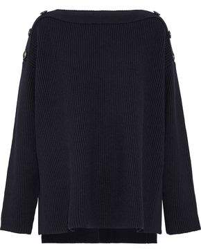Jason Wu Grey Oversized Button-Detailed Ribbed Wool Sweater