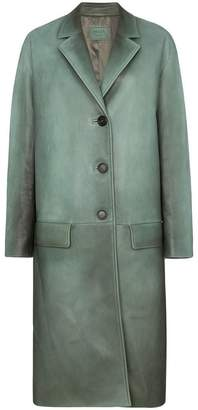 Prada Napa leather coat with rear belt
