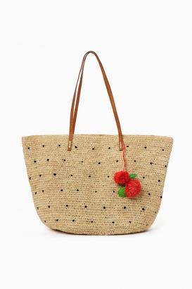 Mar y Sol Navy Florence Crocheted Polka Dot Tote $139 thestylecure.com