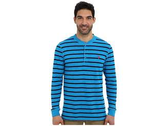 U.S. Polo Assn. Slim Fit Long Sleeve Slub Henley w/ Stripes Men's Long Sleeve Pullover