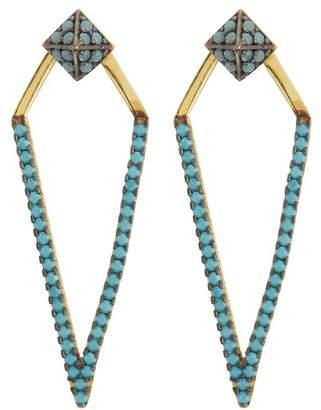 Argentovivo Crystal Embellished Kite Drop Jacket Earrings