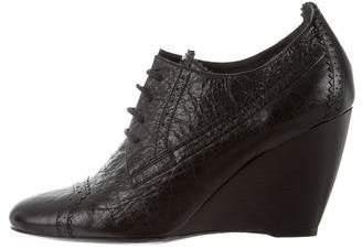 Balenciaga Leather High-Heel Wedges