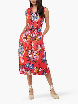 a9f56d6cb383e Monsoon Sinead Print Cotton Midi Dress, Coral