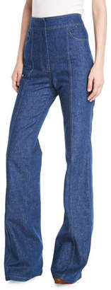 Derek Lam High-Waist Flared-Leg Denim Pants w/ Topstitch Detail