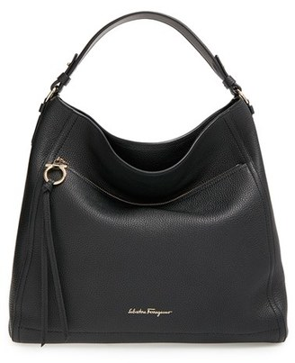 Salvatore Ferragamo Pebbled Leather Hobo - Black $1,350 thestylecure.com