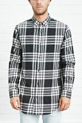 Forever 21 Side-Zip Plaid Flannel Shirt