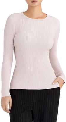 Rachel Roy Collection Metallic Ribbed Crewneck Sweater