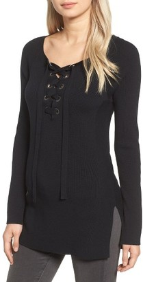 Women's Trouve Ribbed Lace-Up Sweater $89 thestylecure.com