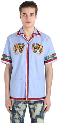 Tiger Patch Oxford Bowling Shirt $1,150 thestylecure.com