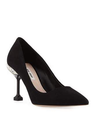 Miu Miu Suede Jeweled-Heel Pumps, Black
