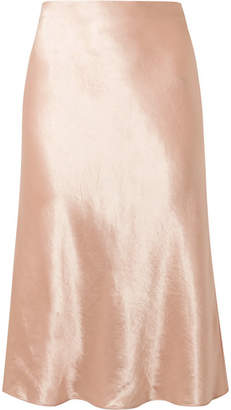 Vince Hammered-satin Midi Skirt - Blush