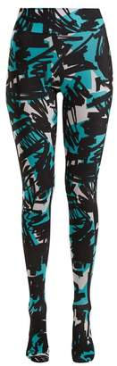 Burberry Graffiti Print Footed Leggings - Womens - Blue Multi