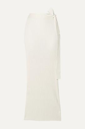 By Malene Birger Esther Ribbed-knit Wrap Midi Skirt - White