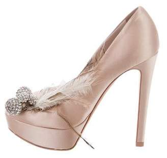 Christian Dior Embellished Peep-Toe Pumps