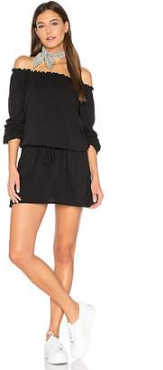 Chaser Off Shoulder Shirred Mini Dress in Black $84 thestylecure.com