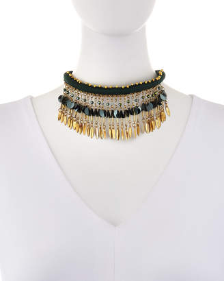 Panacea Green & Golden Drops Collar Necklace