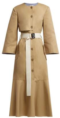 Tibi Finn Cotton Twill Trench Dress - Womens - Khaki