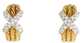 David Yurman 18K Diamond X Earrings